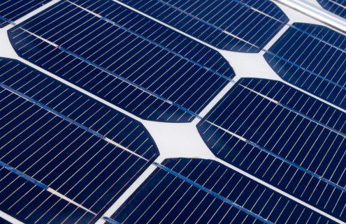 Daytime closeup of a solar panel